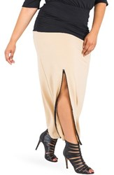 Poetic Justice Plus Size Women's Kandi Zip Slit Maxi Skirt Black Champagne