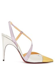 Christian Louboutin Platina 85 Slingback Leather Pumps Gold Multi