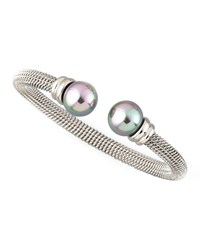 Gray Pearl Cap Bangle Silver Majorica
