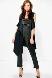 Boohoo Hannah Textured Sleeveless Waterfall Jacket Black