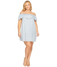B Collection By Bobeau Curvy Plus Size Rosie Off Shoulder Flounce Dress Denim Blue Women's Dress
