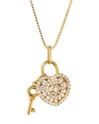 Memoire 18K Yellow Gold Lover's Locks Pave Diamond Heart Pendant Necklace 0.40Tcw