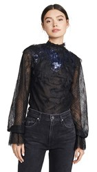 Costarellos Mesh Lace Top Deep Blue And Black