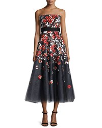 Sachin And Babi Noir Strapless Poppy Lace Tea Length Cocktail Dress