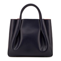 Alexandra De Curtis Ashley Midi Ruched Tote Navy Blue