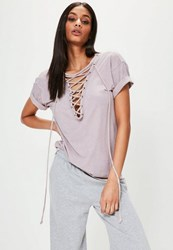 Missguided Purple Lace Up Oversized T Shirt