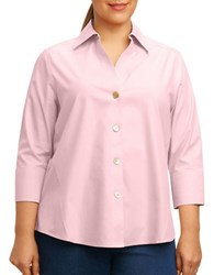 Foxcroft Plus Paige Three Quarter Sleeve Shirt Pink
