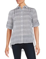Lord And Taylor Striped Button Front Shirt French Grey