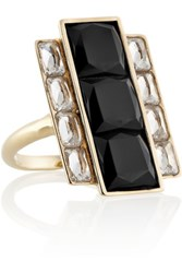 Kelly Wearstler Rexford Gold Plated Onyx And Crystal Ring