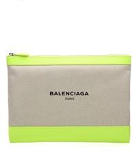 Balenciaga Canvas And Leather Clutch Beige