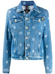 Paul Smith Ps Dotted Print Denim Jacket Blue