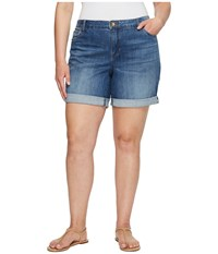 Kut From The Kloth Plus Size Catherine Boyfriend Roll Up Shorts In Feminine Medium Base Wash Feminine Medium Base Wash Women's Shorts Blue