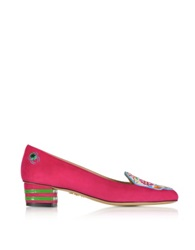 Charlotte Olympia Day Of The Dead Fiesta Pink Suede Mid Heel Pump Fuchsia
