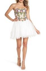 Blondie Nites Embroidered Lace Fit And Flare Dress Ivory Multi