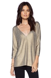 Autograph Addison Nicks Plunging V Easy Top Metallic Gold