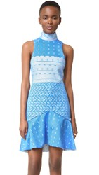 Jonathan Simkhai Bonded Lace Mock Neck Dress Electric Blue