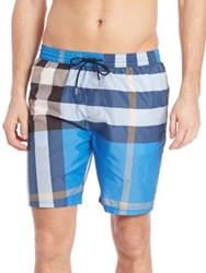 Burberry Checked Swim Trunks Cerulean Blue