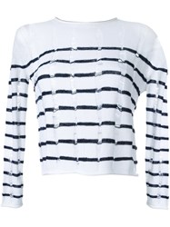 Alexander Wang T By Burn Out Striped Jumper White