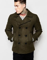 Diesel Wool Peacoat W Sami Double Breasted Green
