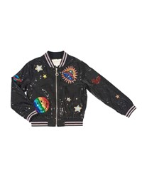 Hannah Banana Sequin Bomber Jacket W Space Patches Black