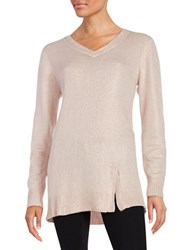 Highline Collective Metallic Knit Sweater Pink Rose