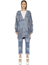 Stella Mccartney Patchwork Cotton Knit And Denim Cardigan
