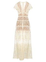 Elie Saab Butterfly Sleeved Lace Panelled Gown White