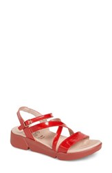 Wonders Wedge Sandal Red Patent Leather