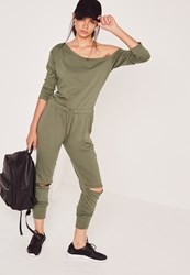 Missguided Off The Shoulder Jumpsuit Khaki Beige