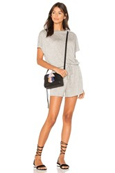 Minkpink Square Textured Tee Playsuit Gray