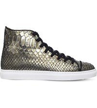 Charlotte Olympia Snake Embossed High Top Trainers Dark Green