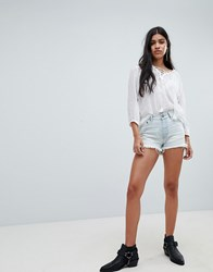 One Teaspoon Bonita High Rise Denim Shorts With Raw Hem Blue