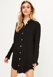 Missguided Black Gold Button Frill Cuff Shirt Dress