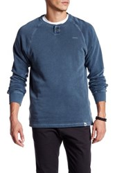 Ourcaste Bolton Long Sleeve Henley Pullover Blue