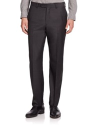 Saks Fifth Avenue Wool Flat Front Pants Charcoal