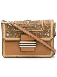 Etro Embroidered Crossbody Bag Brown
