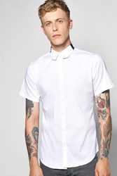 Boohoo Sleeve Shirt With Colour Block Collar White