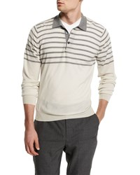 Brunello Cucinelli Striped Wool Cashmere Polo Sweater White Mid Gray Men's Size 48 S Off White Mid Gre
