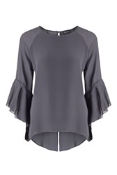 James Lakeland Flute Sleeve Blouse Charcoal