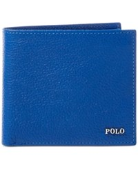 Polo Ralph Lauren Men's Metal Plaque Leather Billfold Navy