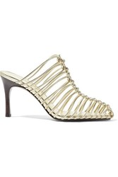 3.1 Phillip Lim Sabrina Woven Metallic Leather Mules Gold