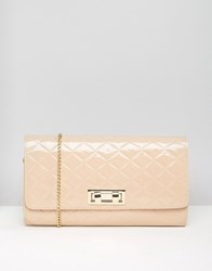 New Look Patent Quilt Clutch Bag Camel Brown