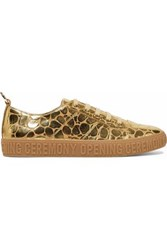 Opening Ceremony Ring Embellished Metallic Leather Sneakers Gold
