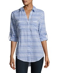 Lord And Taylor Nancy Lateral French Striped Shirt Green