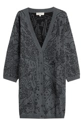Paul And Joe Oversize Merino Wool Cardigan Grey
