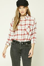Forever 21 Tartan Plaid Flannel Shirt Cream Burgundy