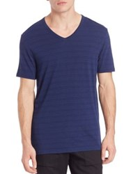 Vince Horizontal Striped V Neck Tee Indigo Heather Steel