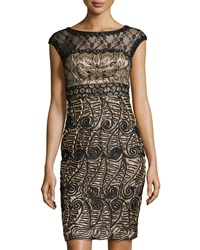 Sue Wong Beaded Lace Trim Cocktail Dress Black Beige