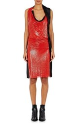 Paco Rabanne Women's Chain Mail And Satin Dress Red Black Red Black