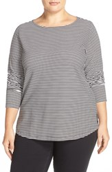 Sejour Plus Size Women's Stripe Ballet Neck Long Sleeve Tee White Black Stripe